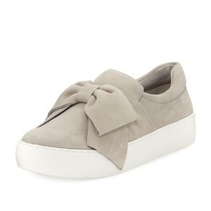 ANTHRO J/SLIDES GRAY SUEDE BOW PLATFORM SNEAKERS